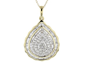 White Diamond 10k Yellow Gold Pendant With Chain 0.75ctw