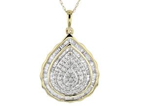White Diamond 10k Yellow Gold Pendant With Chain 0.75ctw