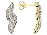 White Diamond 10k Yellow Gold Earrings 0.54ctw