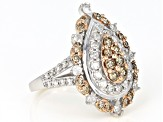 Champagne And White Diamond 14k White Gold Ring 1.75ctw