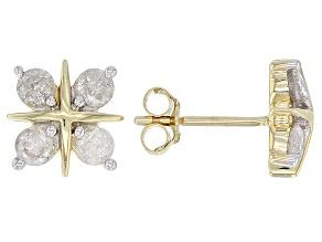White Diamond 10k Yellow Gold Earrings 0.75ctw