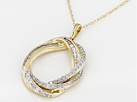 White Diamond 10k Yellow Gold Pendant With Chain 0.37ctw