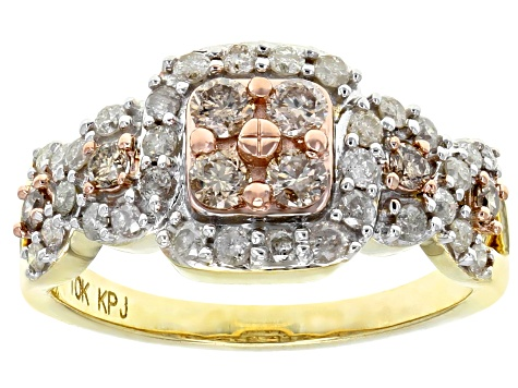 Champagne And White Diamond 10k Yellow Gold Ring 0.91ctw