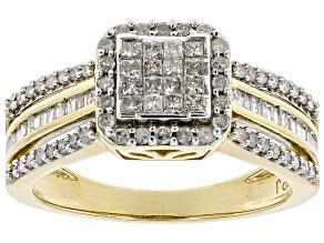 White Diamond 10k Yellow Gold Ring 0.59ctw