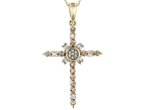 10k Yellow Gold Cross Pendant Religious Jewelry