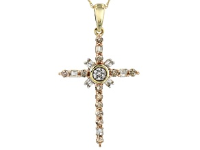 "Champagne And White Diamond 10k Yellow Gold Cross Pendant With 18"" Rope Chain 0.50ctw"