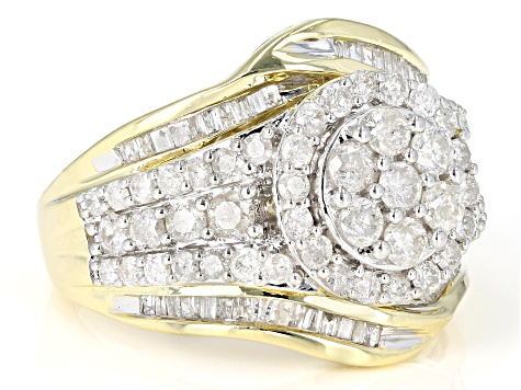 Diamond 10k Yellow Gold Cluster Ring 2.00ctw
