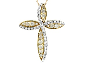 White Diamond 10k Yellow Gold Cross Pendant With Chain 1.00ctw