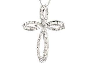 White Diamond 10k White Gold Cross Pendant With Chain 0.50ctw