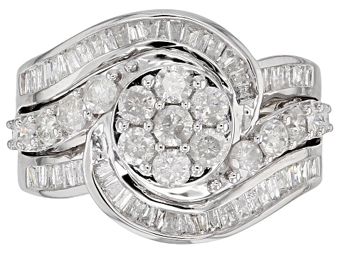 White Diamond 10k White Gold Ring 1.50ctw
