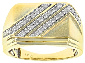 White Diamond 10k yellow Gold Gents Ring 0.50ctw