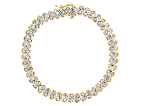 White Diamond 10k Yellow Gold Heart Bracelet 4.00ctw