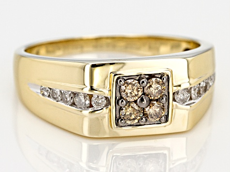 Champagne And White Diamond 10k Yellow Gold Gents Ring 0.50ctw