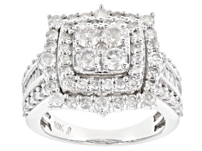White Diamond 10k White Gold Ring 2.12ctw