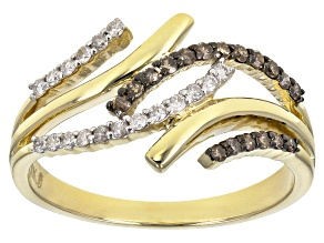Champagne And White Diamond 10k Yellow Gold Ring 0.25ctw