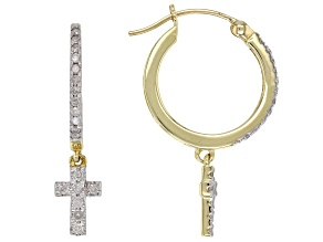 White Diamond 10K Yellow Gold Earrings 0.33ctw