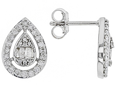 White Diamond 10k White Gold Earrings 0.60ctw