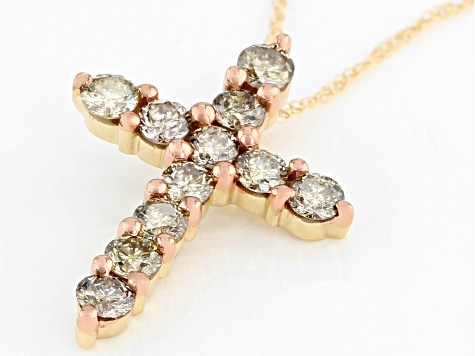 Champagne Diamond 10k Yellow Gold Cross Pendant With Chain 1.00ctw