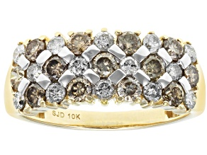 Champagne And White Diamond 10k Yellow Gold Ring 1.25ctw