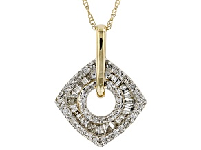 White Diamond 10k Yellow Gold Pendant With Chain 0.50ctw