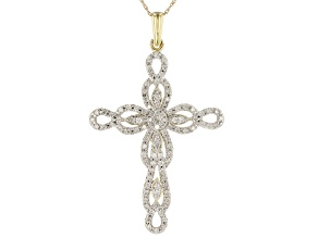 White Diamond 10k Yellow Gold Cross Pendant With Chain 0.75ctw