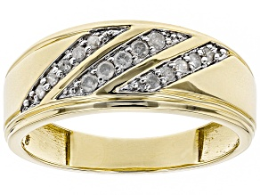 White Diamond 10k Yellow Gold Gents Ring 0.25ctw