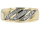 White Diamond 10k Yellow Gold Mens Band Ring 0.25ctw