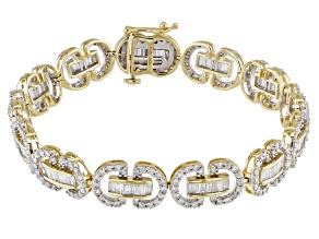 White Diamond 10k Yellow Gold Bracelet 4.14ctw