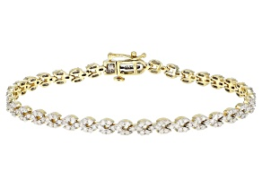White Diamond 10K Yellow Gold Bracelet 2.27ctw
