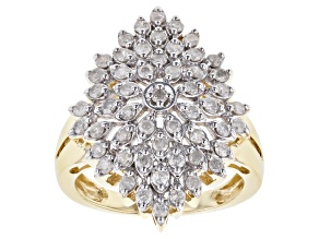 White Diamond 10k Yellow Gold Ring 1.03ctw