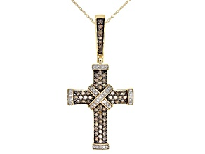 Champagne And White Diamond 10k Yellow Gold Cross Pendant With 18