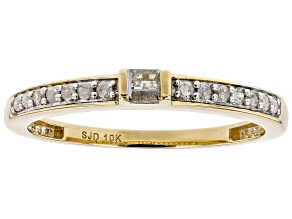 White Diamond 10k Yellow Gold Ring .15ctw