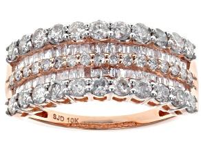 White Diamond 10k Rose Gold Ring 1.45ctw