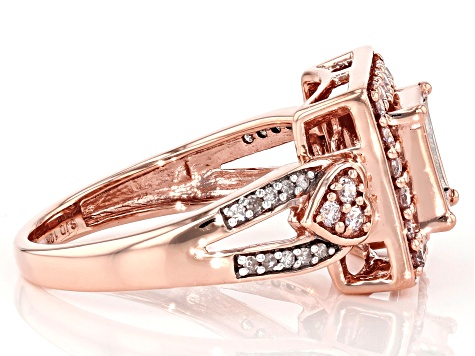 Natural Pink And White Diamond 10k Rose Gold Ring 0.70ctw