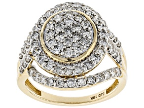 White Diamond 10k Yellow Gold Ring 1.75ctw