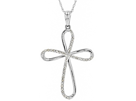 White Diamond 10k White Gold Pendant 0.12ctw