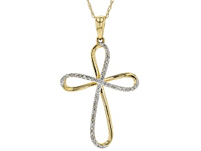 White Diamond 10k Yellow Gold Pendant 0.12ctw