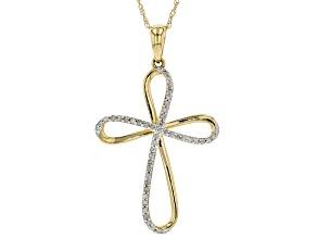 White Diamond 10k Yellow Gold Pendant 0.12ctw