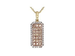 Champagne And White Diamond 10k Yellow Gold Pendant 0.85ctw