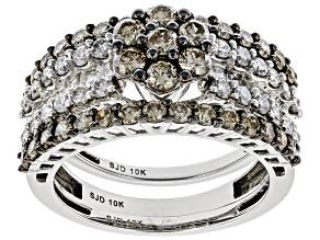 Champagne And White Diamond 10K White Gold 3 Ring Set 2.10ctw