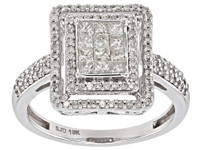 White Diamond 10k White Gold Ring 0.70ctw