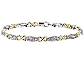 White Diamond 10k Two-Tone Gold Bracelet 1.26ctw
