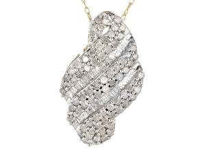 White Diamond 10K Yellow Gold Pendant .95ctw