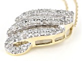 White Diamond 10K Yellow Gold Pendant With 18 Inch Rope Chain 0.95ctw