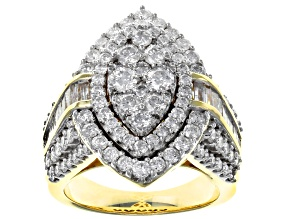 White Diamond 10K Yellow Gold Ring 2.90ctw