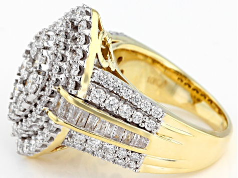 White Diamond 10K Yellow Gold Ring 2.90ctw