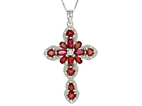 Red Mahaleo(R) Ruby Rhodium Over Sterling Silver Cross Pendant With Chain 4.63ctw.