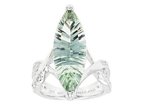 Green Prasiolite Rhodium Over Sterling Silver Solitaire Ring 8.25ctw.