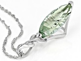 Green Brazilian Prasiolite Rhodium Over Sterling Silver Pendant With Chain 7.36ctw.