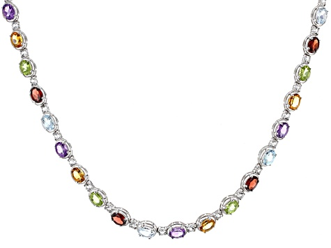 Multi-Gem Sterling Silver Necklace 23.29ctw.